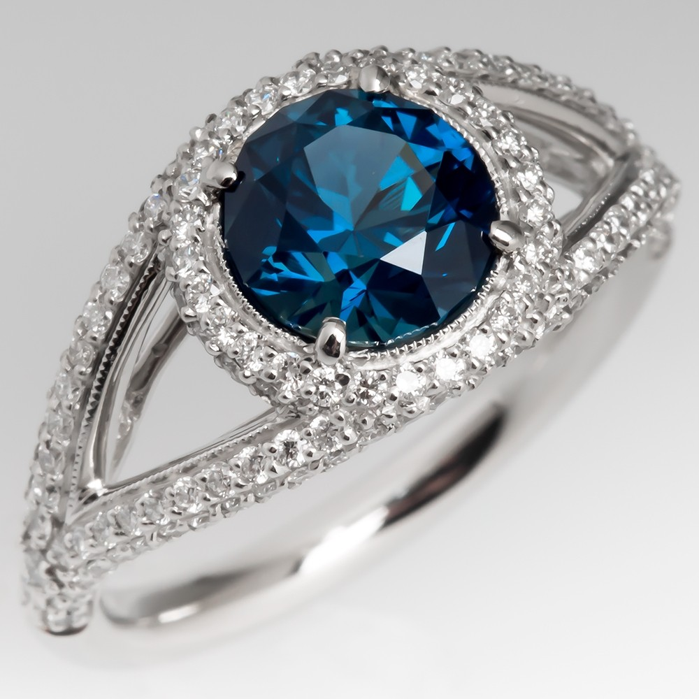 Greenish Blue Sapphire & Diamond Halo Ring Split Shank