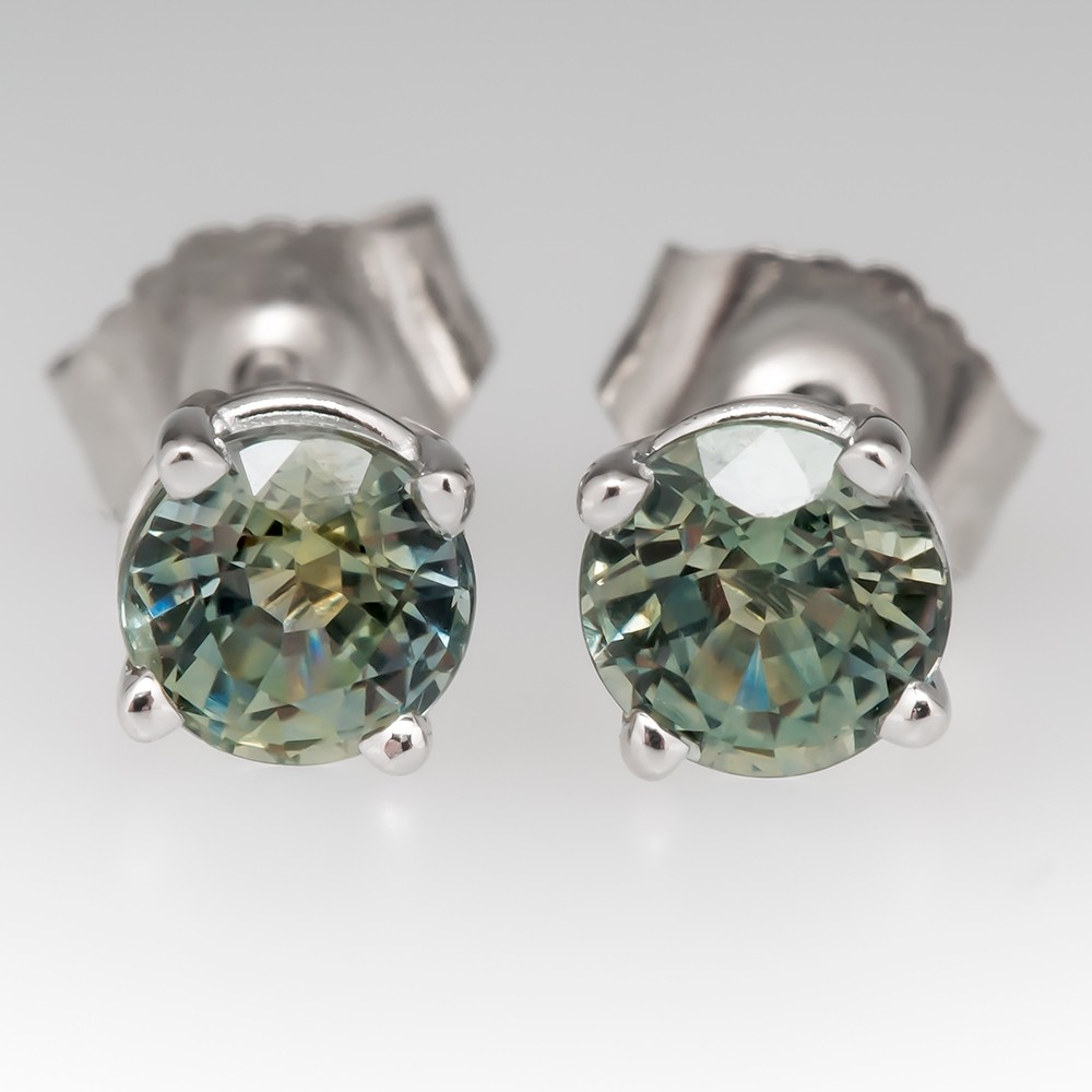 Montana Sapphire Stud Earrings 14k White Gold 1.07 CTW
