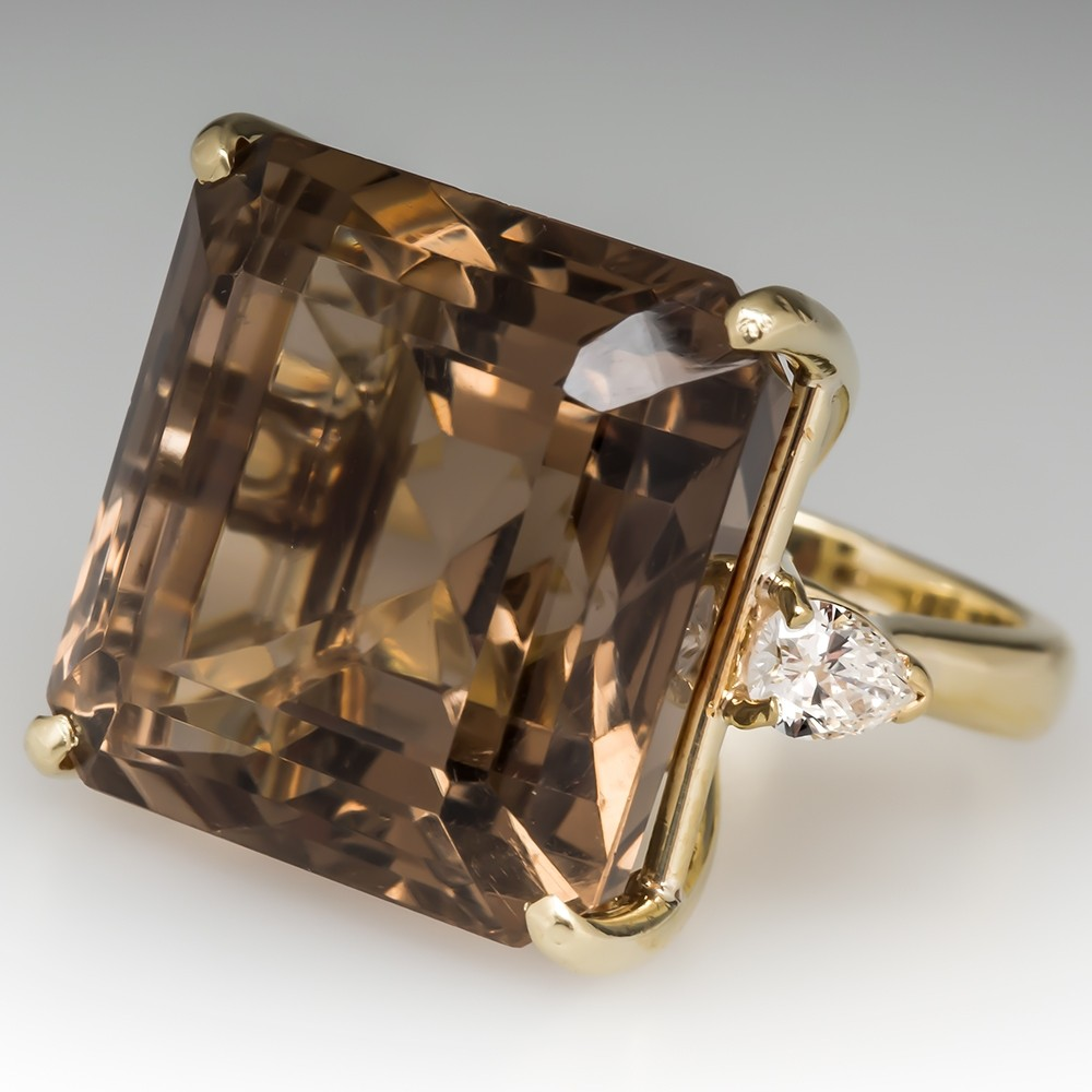 Giant Smoky Quartz Cocktail Ring w/ Diamonds 18K Gold