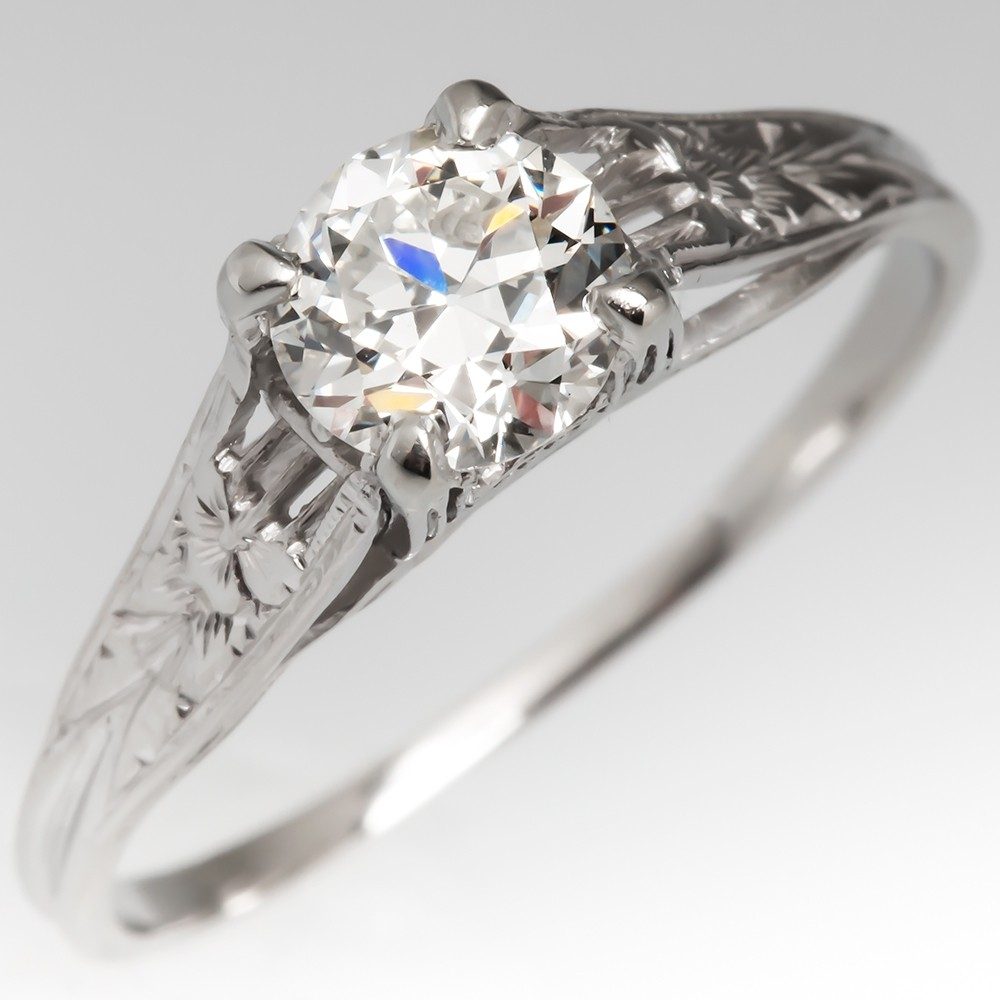 Transitional Cut Diamond Late Art Deco Engagement Ring Ornate Platinum