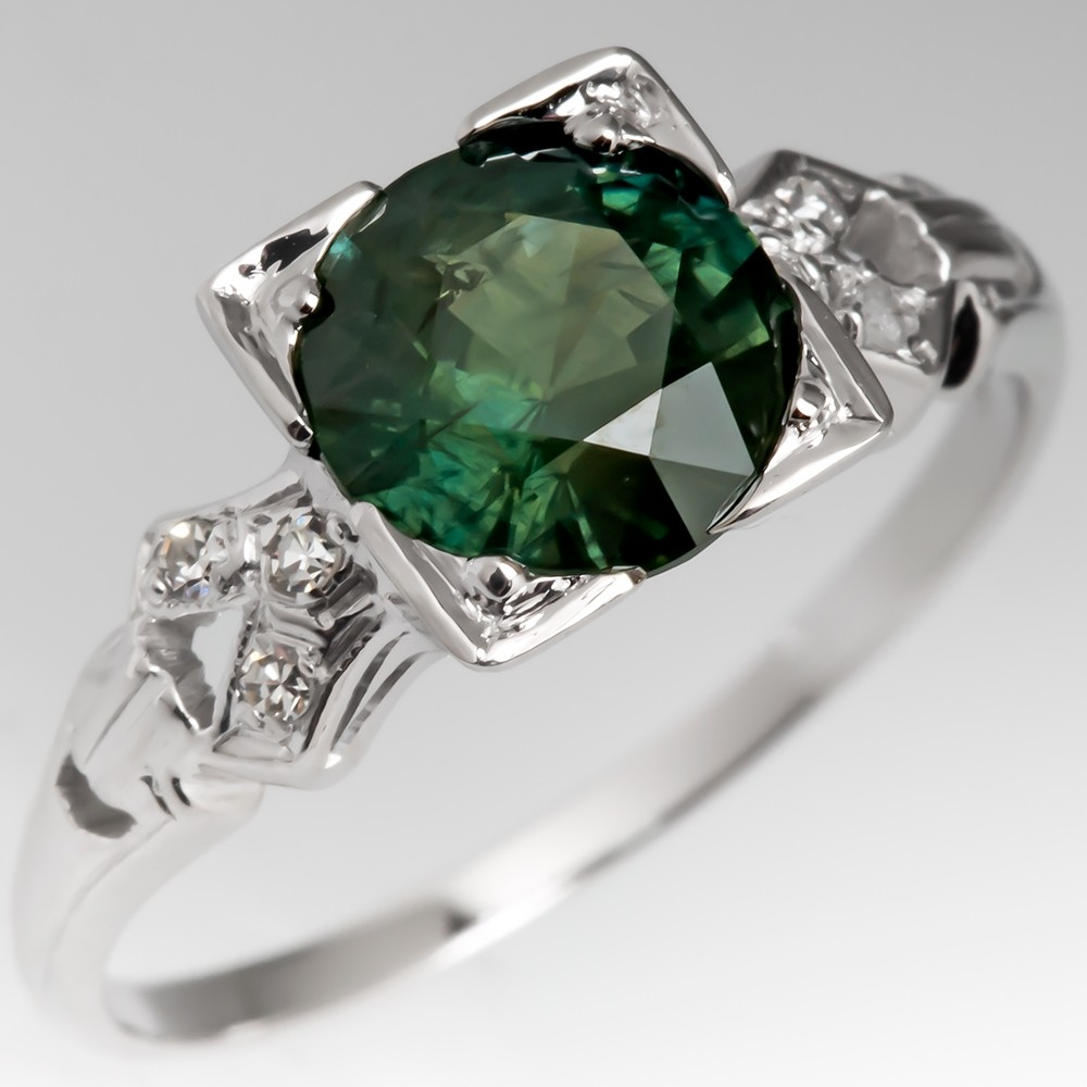 Green Sapphire Engagement Ring with 1950's Vintage 14K White Gold Mounting