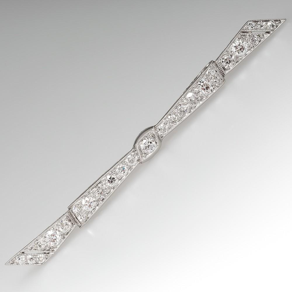Art Deco Bow Pin Brooch Old European Cut Diamonds Platinum 1920's