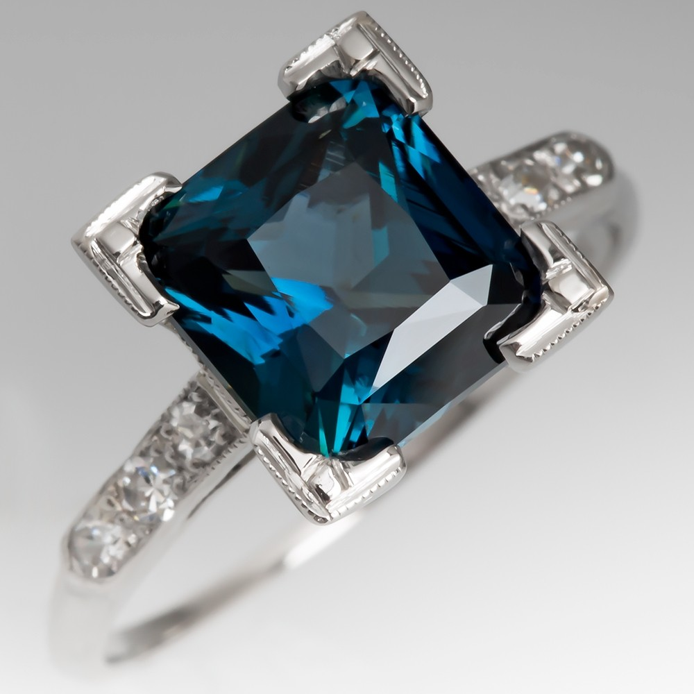 4 Carat Blue Green Sapphire Engagement Ring 1950's Platinum Mounting