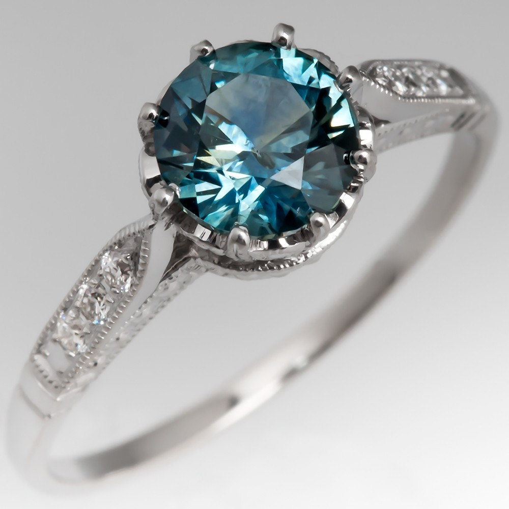 Montana Blue Green Sapphire Engagement Ring 14K White Gold