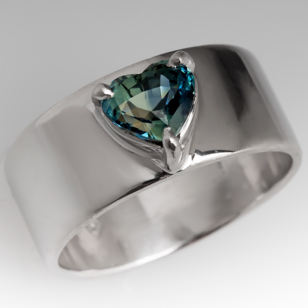 Heart Shaped Blue Green Sapphire Wide Band Platinum Ring