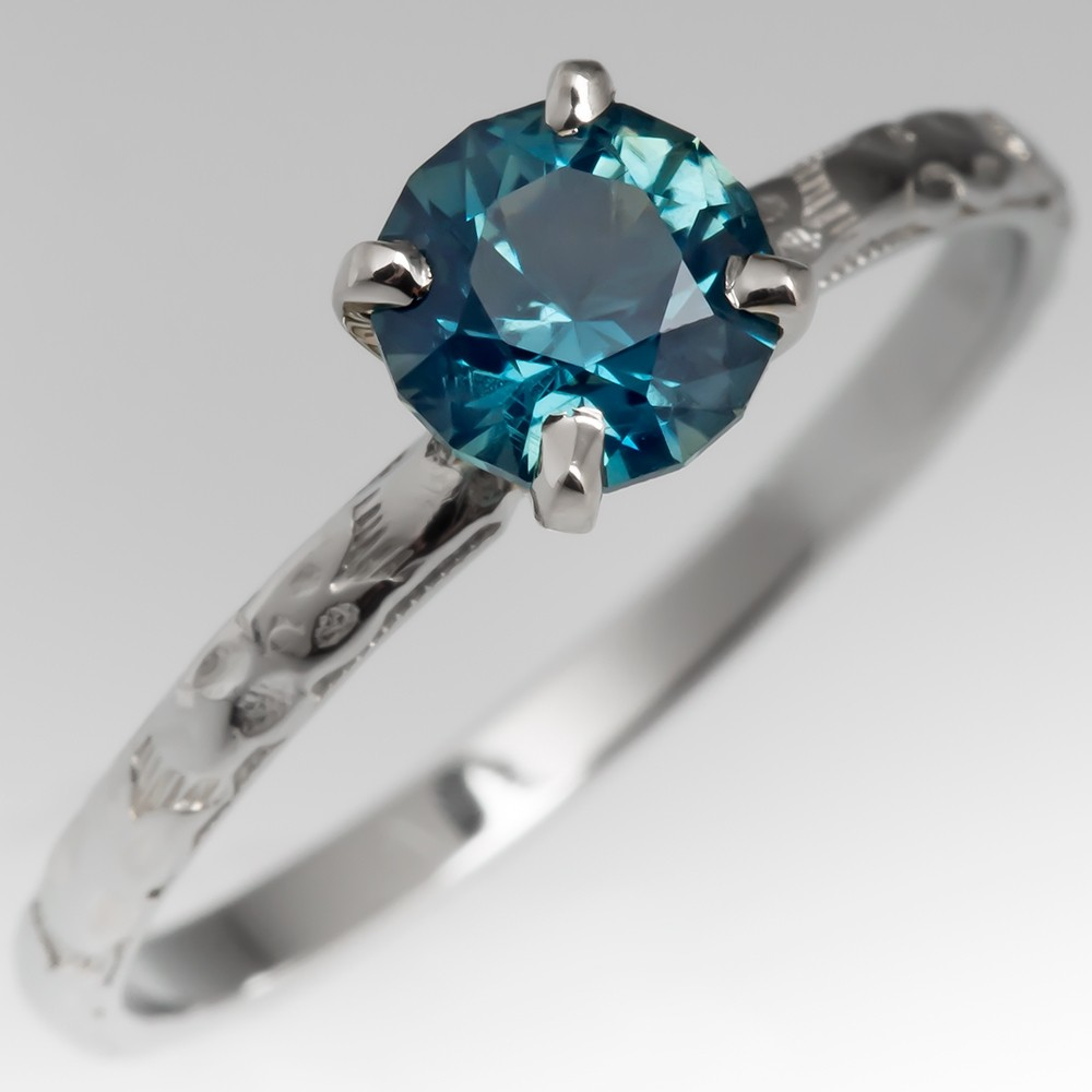 No Heat Blue Green Sapphire Solitaire Ring Vintage Floral Band