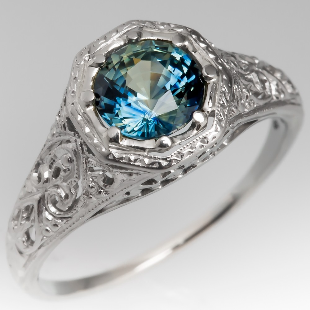 1940's Platinum Filigree Mounting Blue Green Sapphire Ring