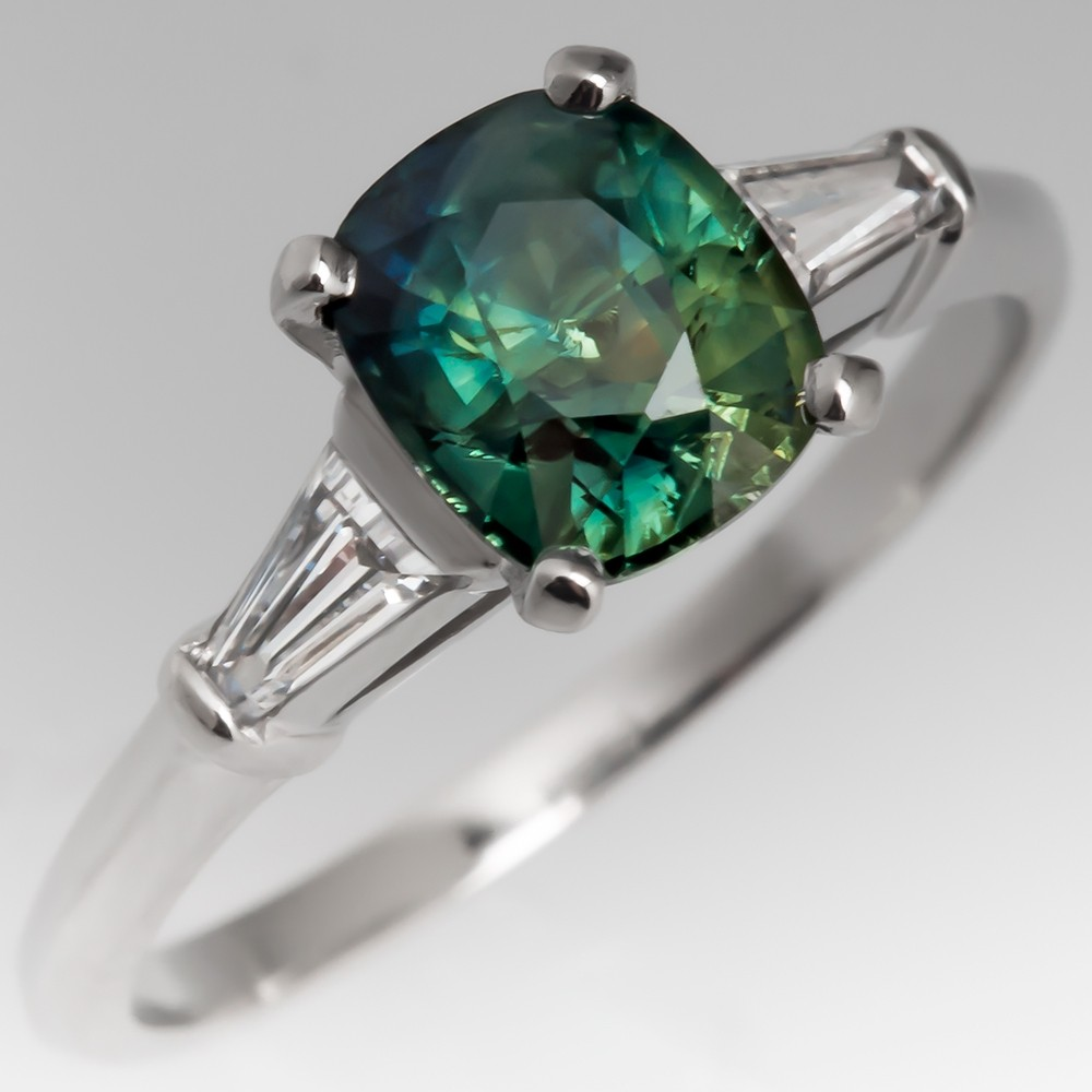 Rich Green Sapphire Engagement Ring 1950's Platinum Baguette Mounting