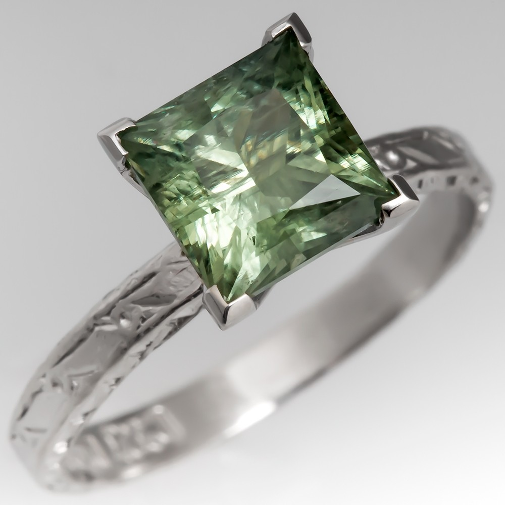 Green Montana Sapphire Solitaire Ring Platinum Princess Cut 3.42 Carat