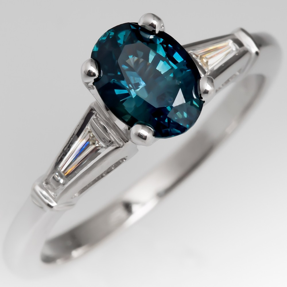 Vibrant No Heat Blue Green Sapphire Engagement Ring 1960's Mount