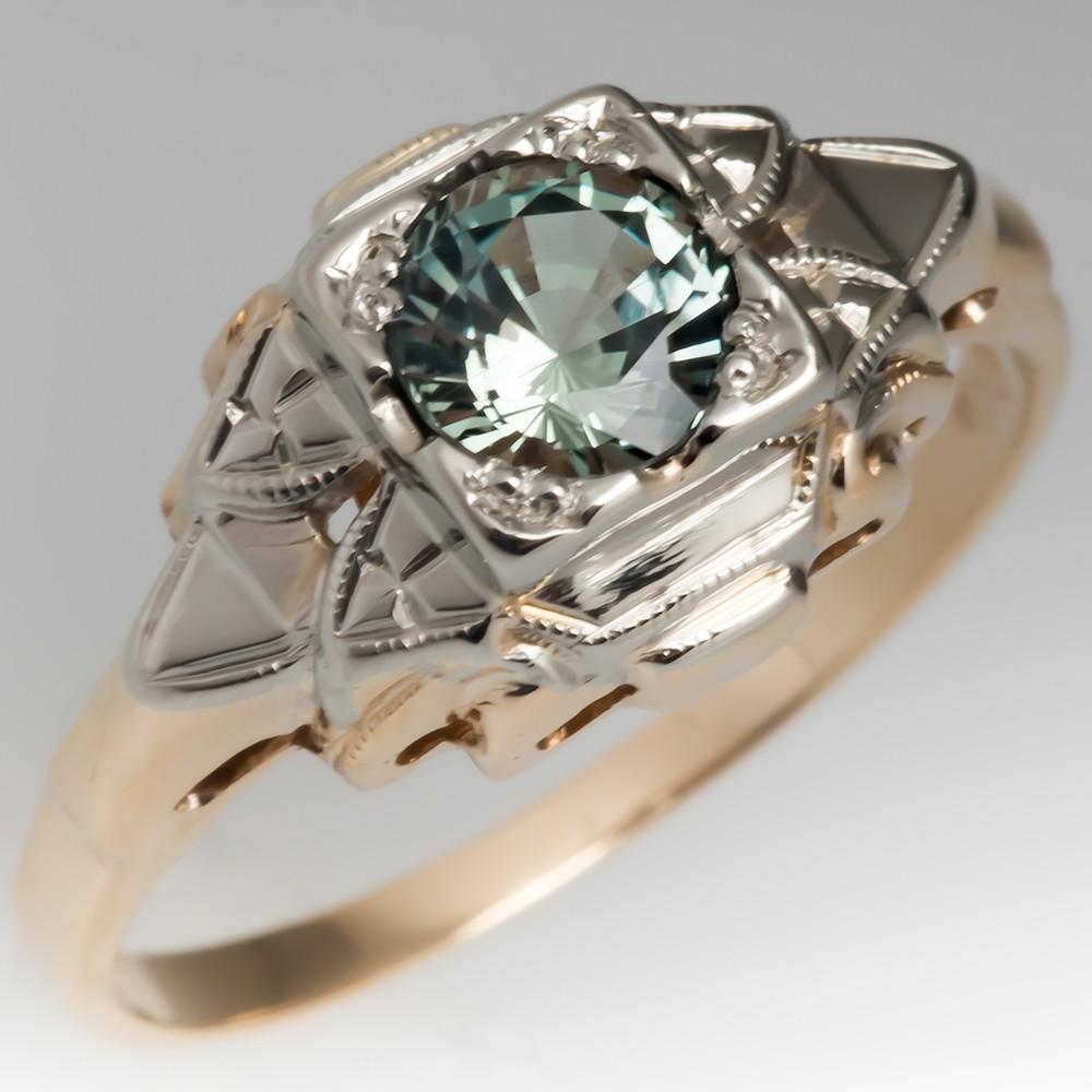 No Heat Light Blue Green Sapphire Intricate Retro Ring 14K Gold