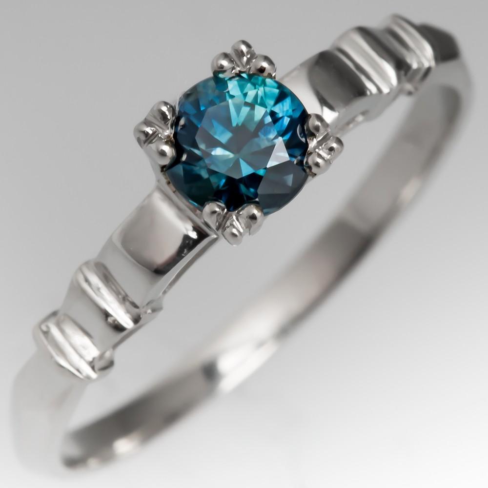 Petite Greenish Blue Montana Sapphire Solitaire Ring 14K White Gold