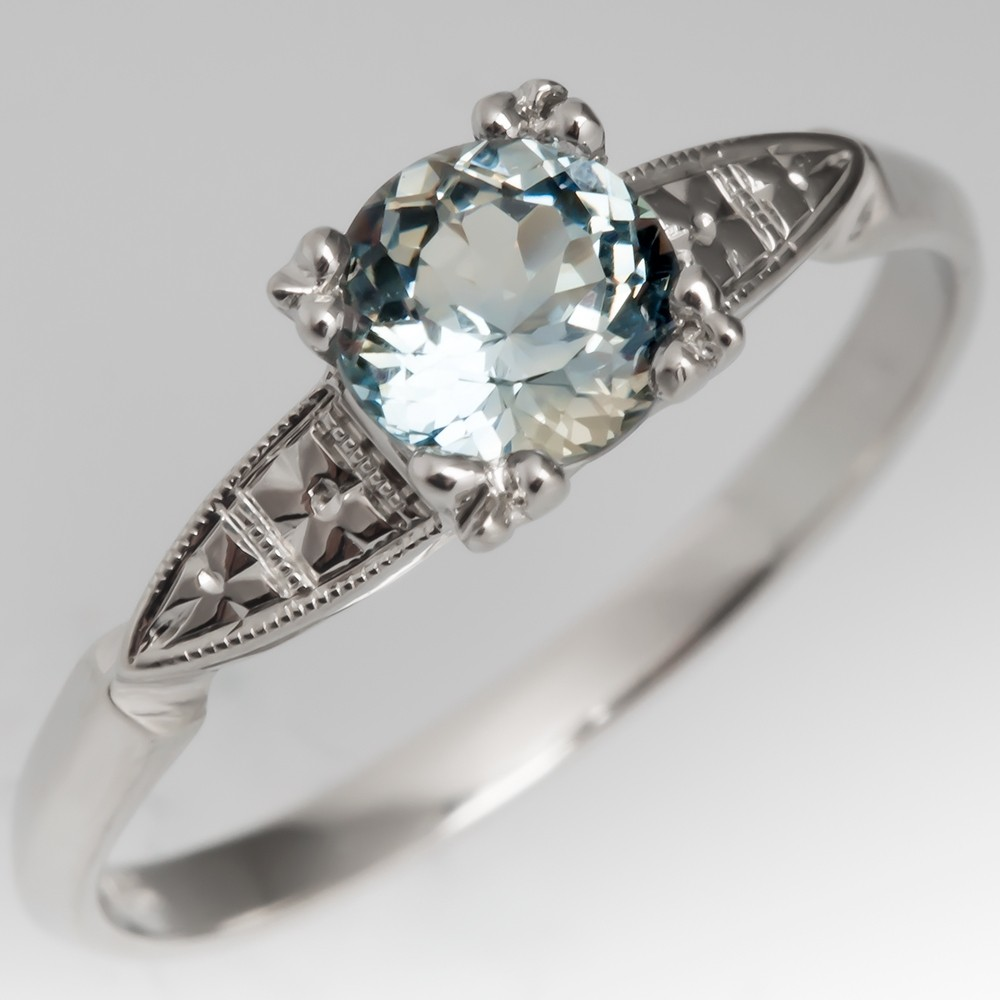 Montana Sapphire Floral Engagement Ring 1940's Mount