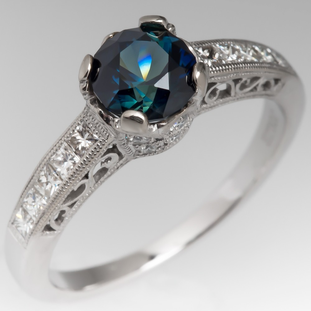 No Heat Rich Blue Green Sapphire Engagement Ring 18K White Gold