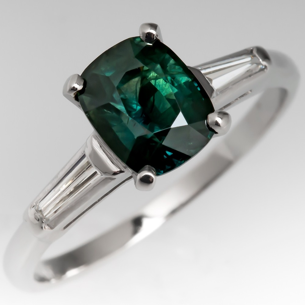 2 Carat Green Sapphire Engagement Ring 1950's Platinum Mounting