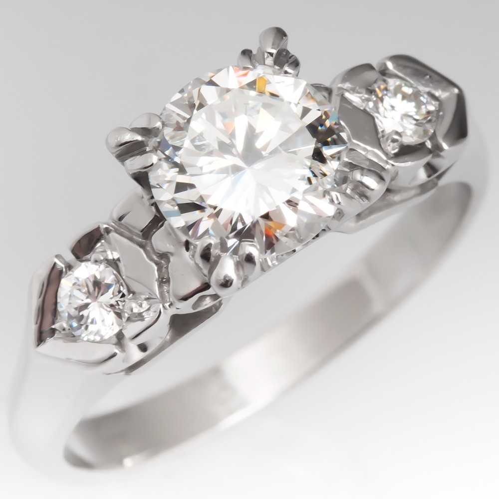 1 Carat Diamond Vintage Retro Engagement Ring 14K White Gold