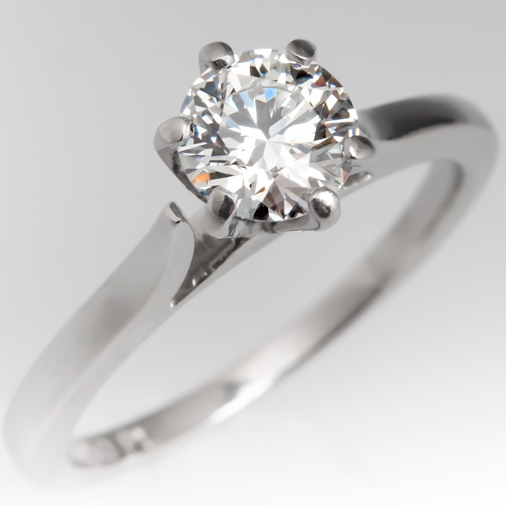AGS 1/2 Carat F/VVS1 Triple Ideal Round Brilliant Diamond Solitaire Engagement Ring