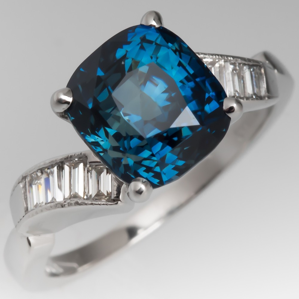 4.5 Carat No Heat Rich Blue Green Sapphire Engagement Ring