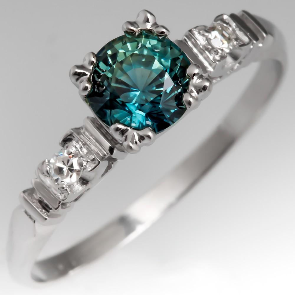 Blue Green Sapphire Ring set in 1950's Vintage Diamond Mount