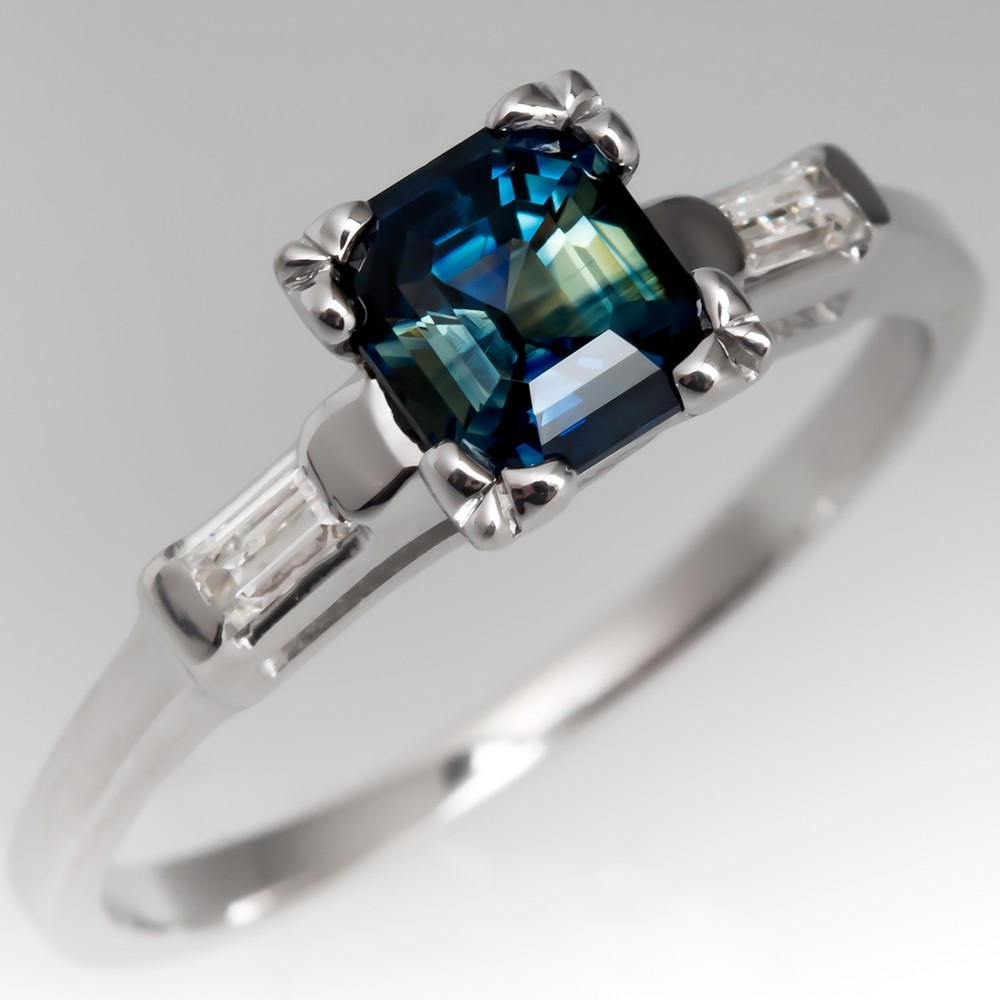 Emerald Cut Blue Green Sapphire Ring 1960's Vintage 14K White Gold Mounting