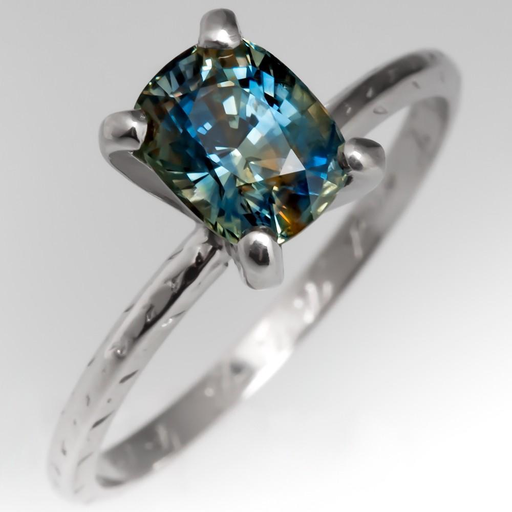 Multi Colored Sapphire Solitaire Engagement Ring Antique Platinum Band