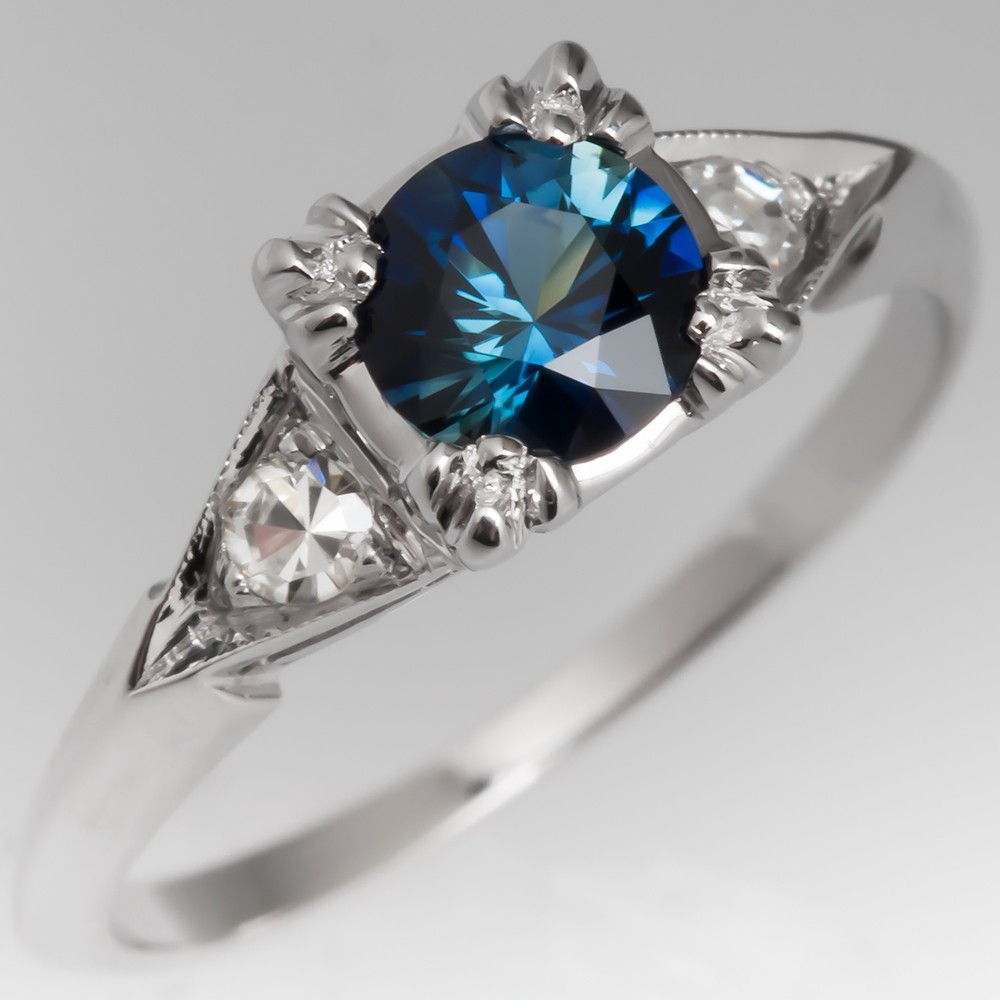 Vivid Blue Green Sapphire Ring in 1950's Vintage Mount 14K Gold