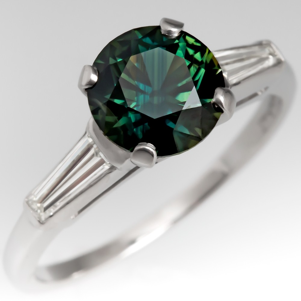 blue products halo on finger diamond montana bezel engagement diamonds and green sapphire with or ring rings solitaire