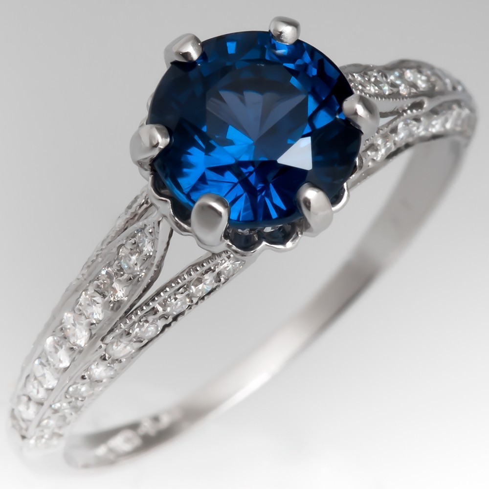 Deep Teal Sapphire Engagement Ring Diamond Encrusted Platinum Setting