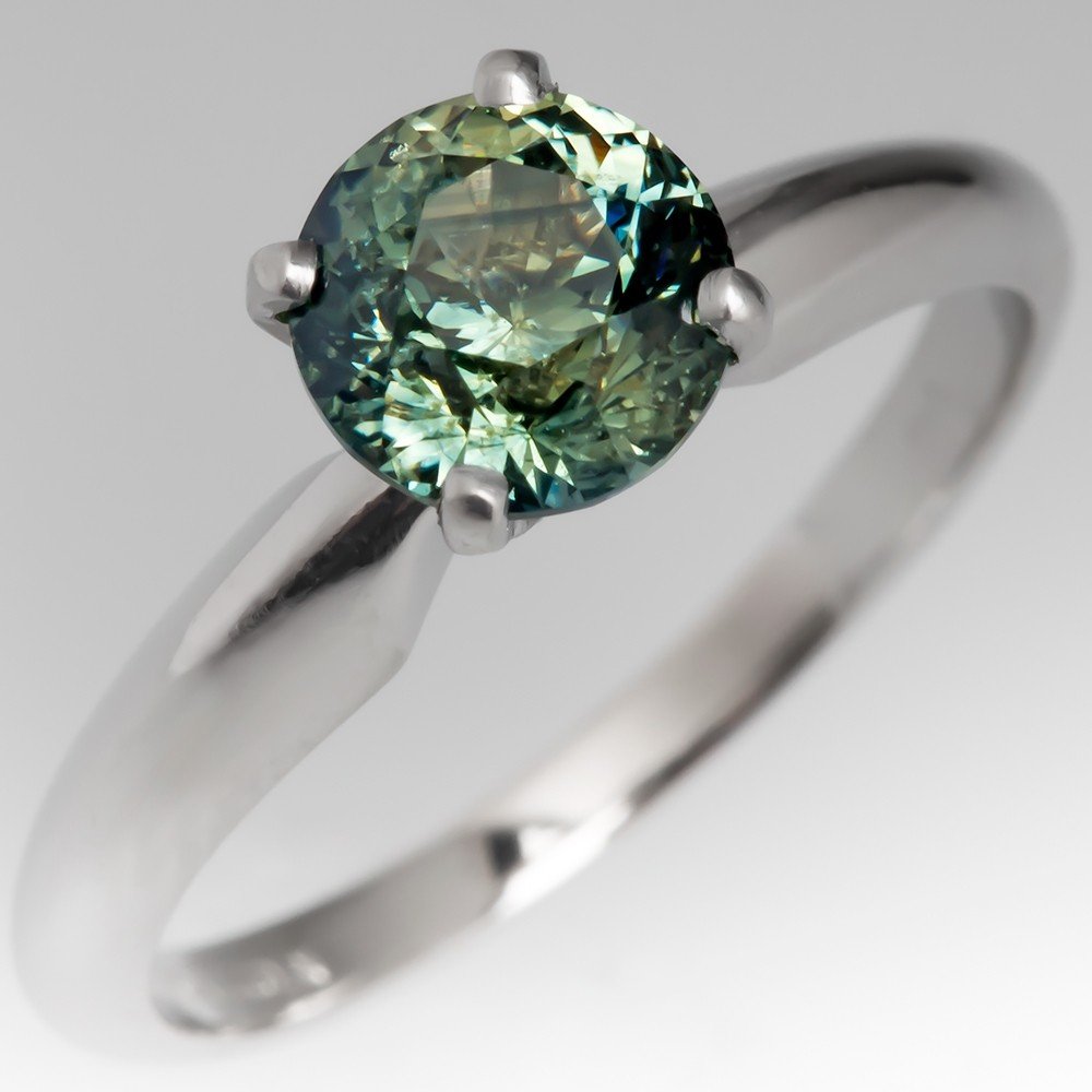 No Heat Blue Green Sapphire Solitaire Engagement Ring Platinum