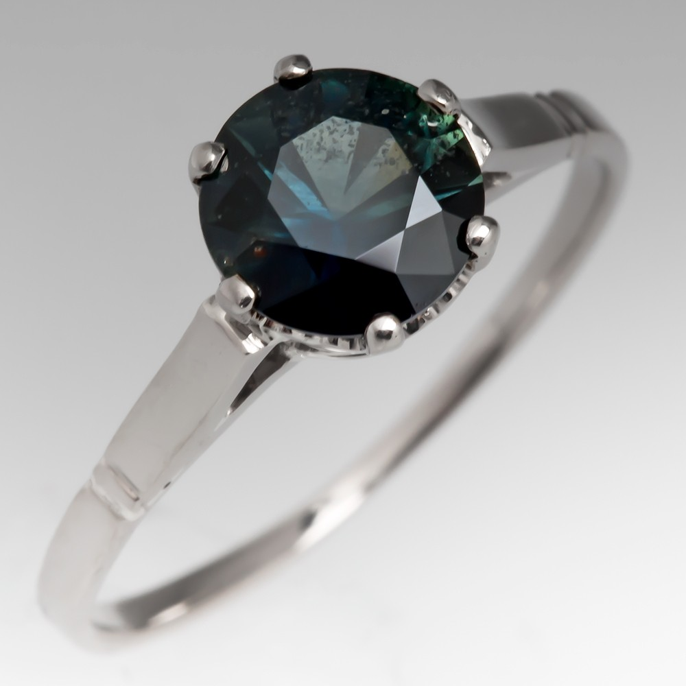 Dark Green No Heat Sapphire Solitaire Ring 1930's Crown Mounting