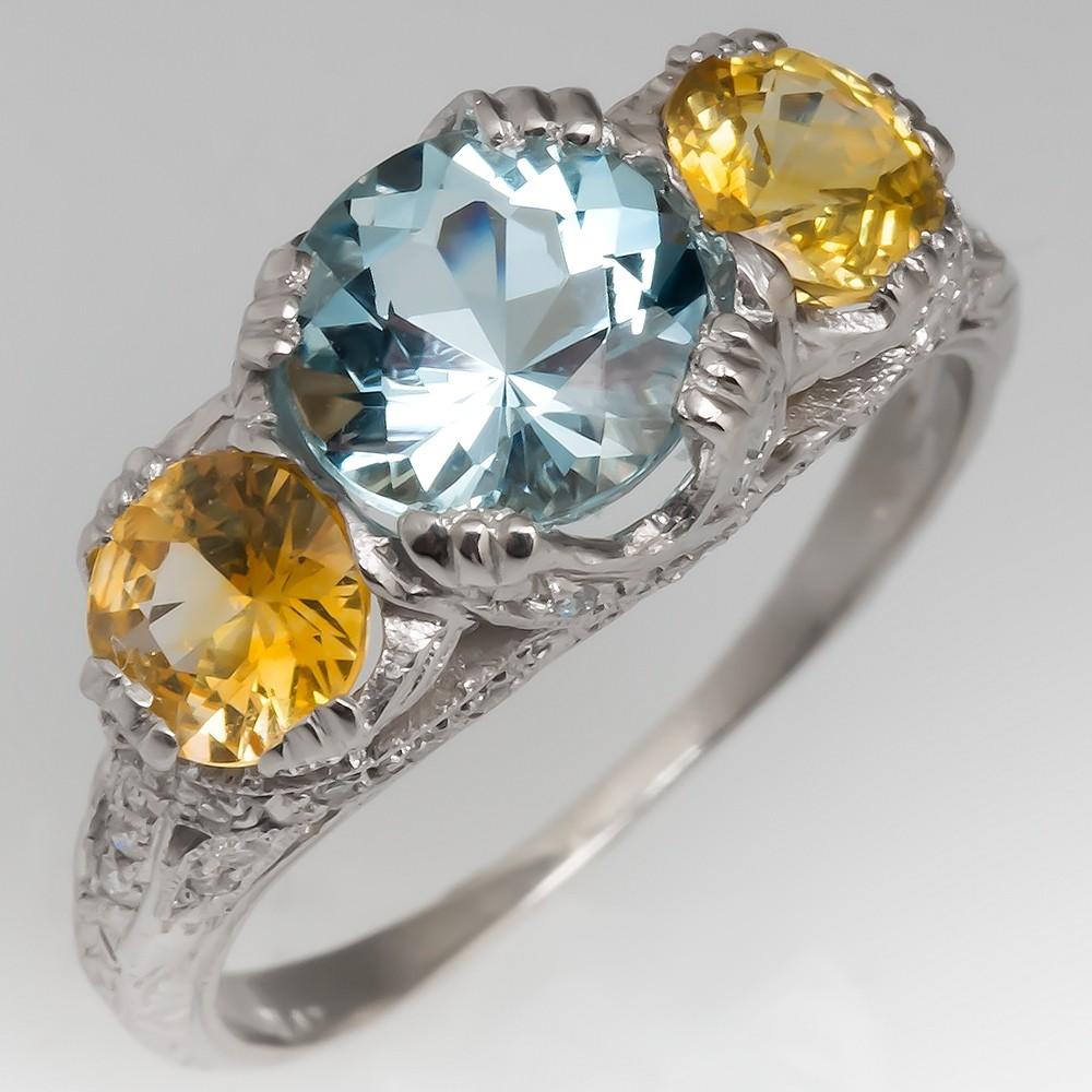 Aquamarine & Yellow Sapphire Three Stone Platinum Diamond Ring