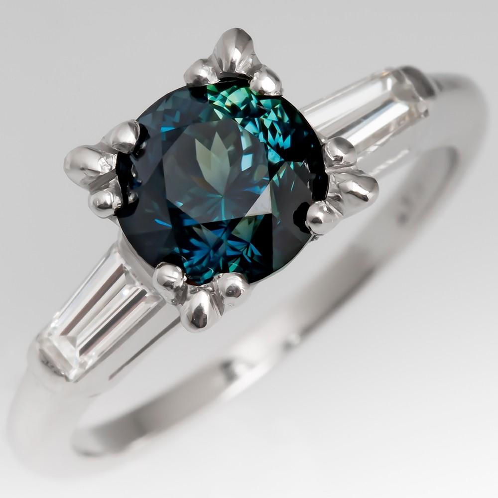 No Heat 1.8 Carat Rich Blue Green Sapphire Engagement Ring