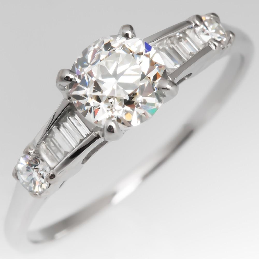 Old Euro Diamond Vintage Engagement Ring .78CT Platinum