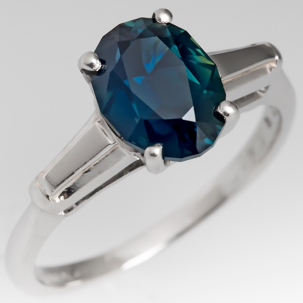 No Heat Dark Blue Green Sapphire Engagement Ring 1960's Platinum Mounting