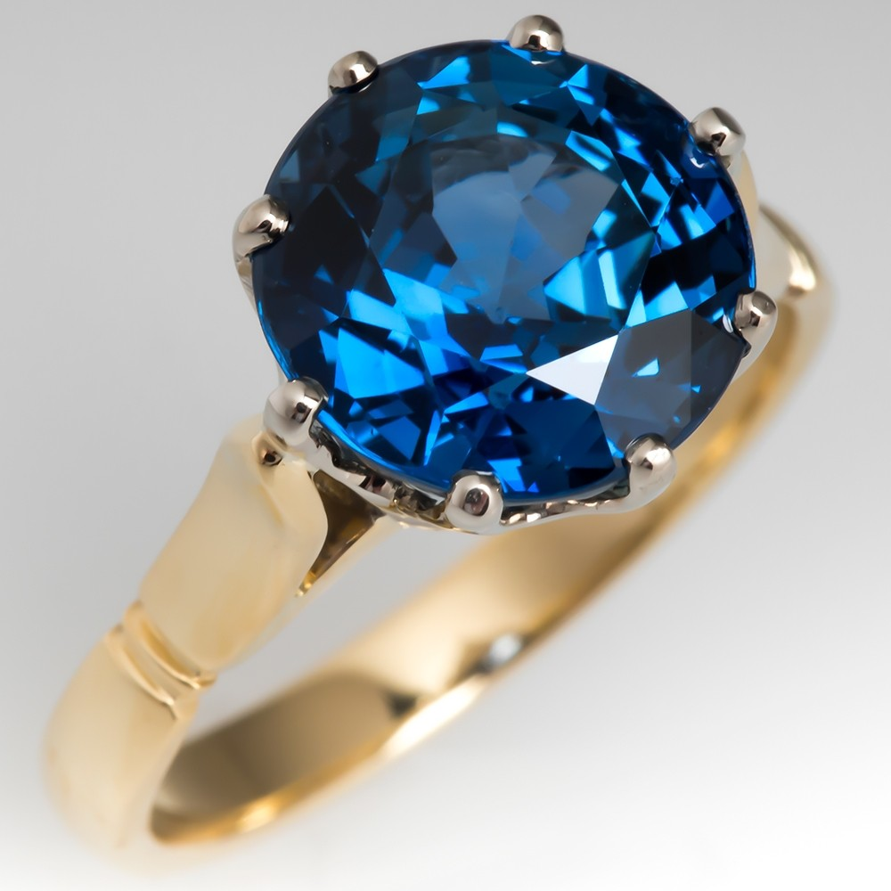 No Heat 5.7 Carat Rich Blue Sapphire Crown Engagement Ring