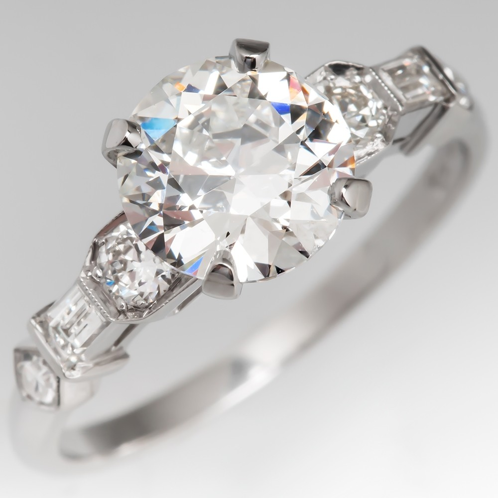 Perfect Antique Engagement Ring 1.3 Carat Old Euro Diamond Platinum