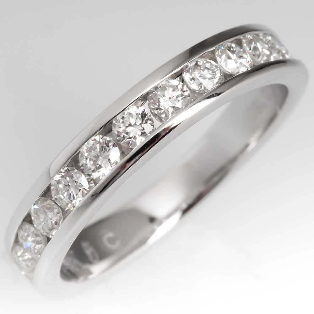 1/2 Carat Channel Set Diamond Wedding Band Ring 14K White Gold