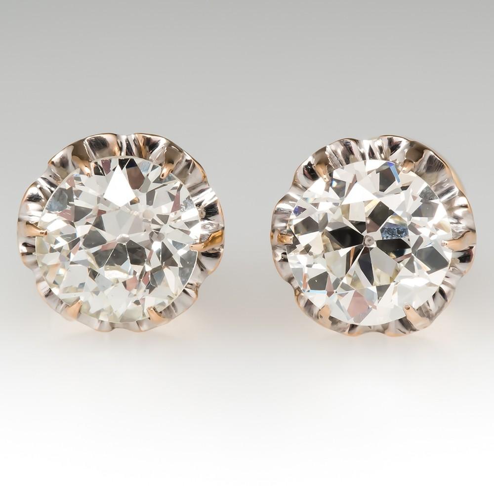 1.6CTW Antique Stud Earrings Old Euro Diamonds 14K Gold Buttercups