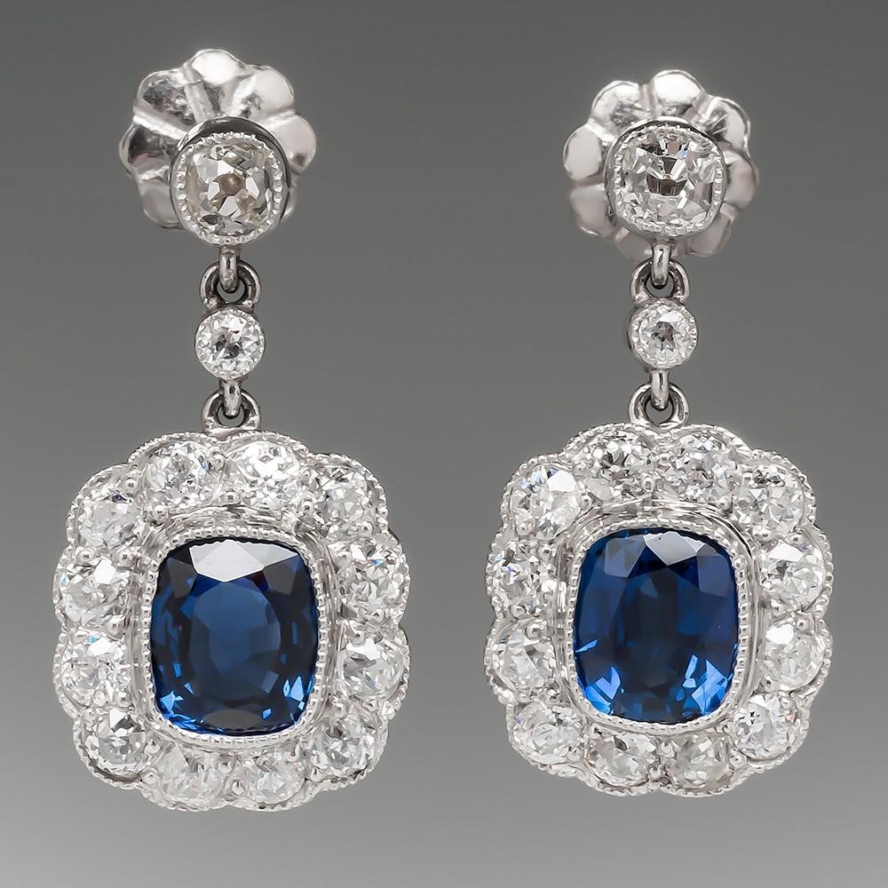 Sapphire Diamond Halo Earrings Platinum Screw Backs