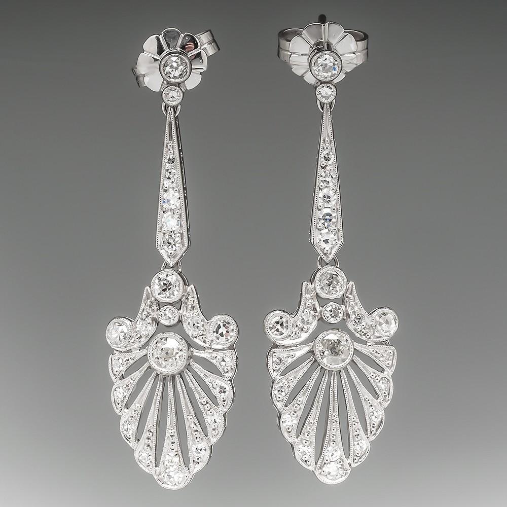 Large Platinum Old Euro Diamond Filigree Dangle Earrings