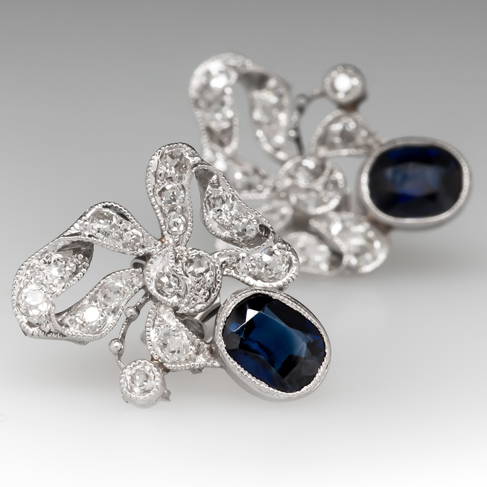 Antique Sapphire & Diamond Ribbon Earrings Platinum