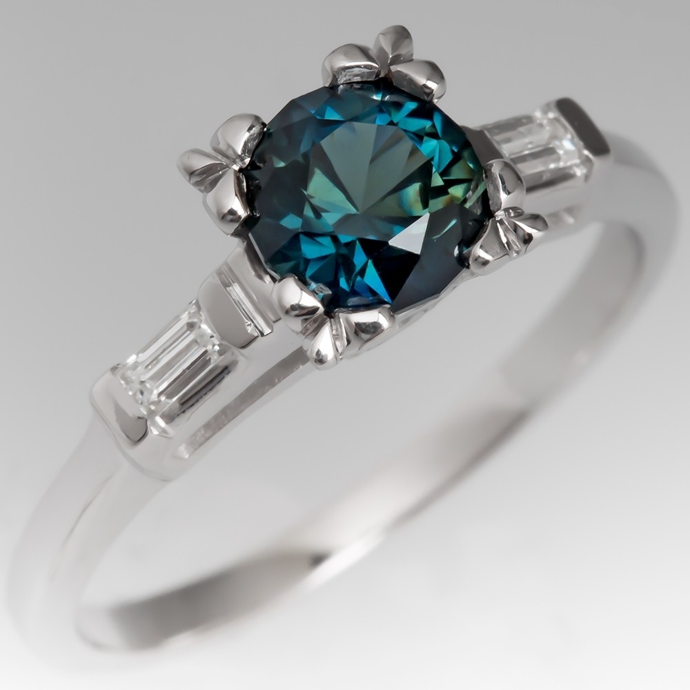 Dark Blue-Green Sapphire Engagement Ring 1950's Vintage Plat Mount