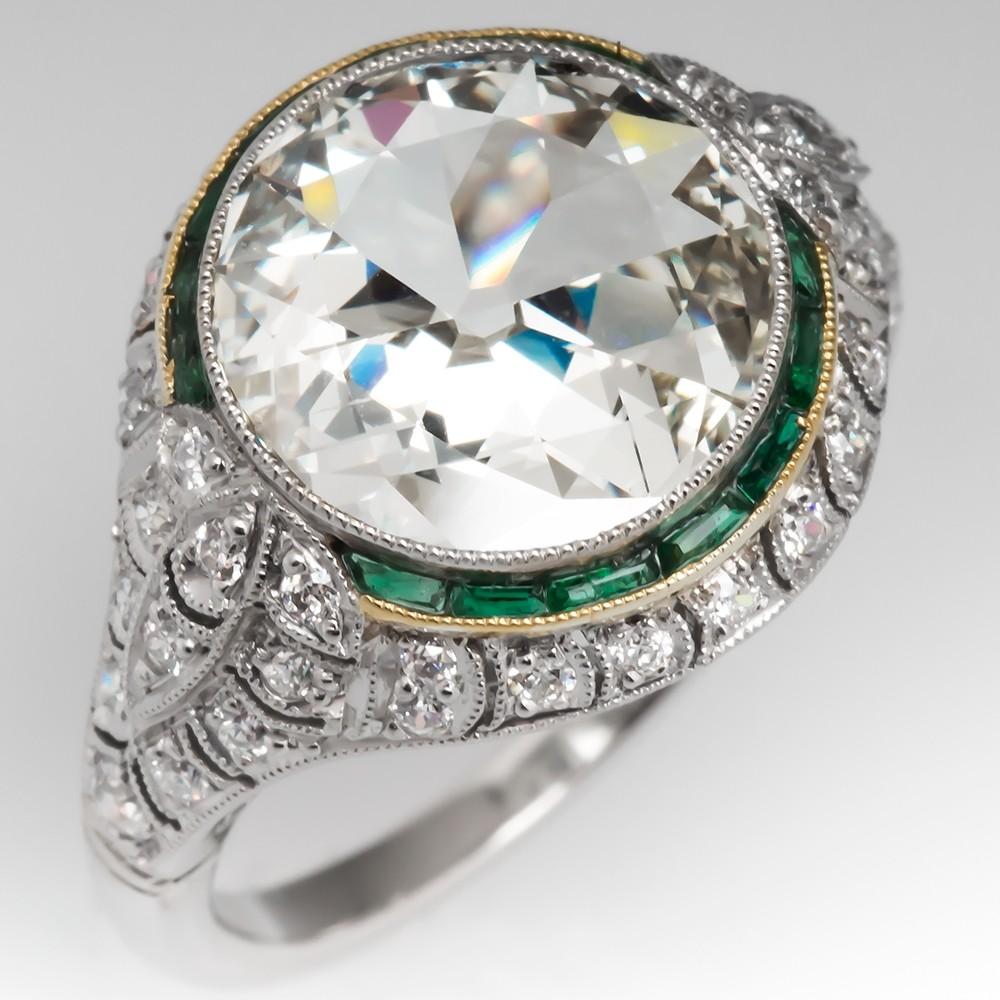Old European Cut Diamond Ring Platinum Filigree