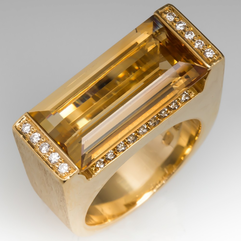 Bold Citrine Cocktail Ring 18K Yellow Gold
