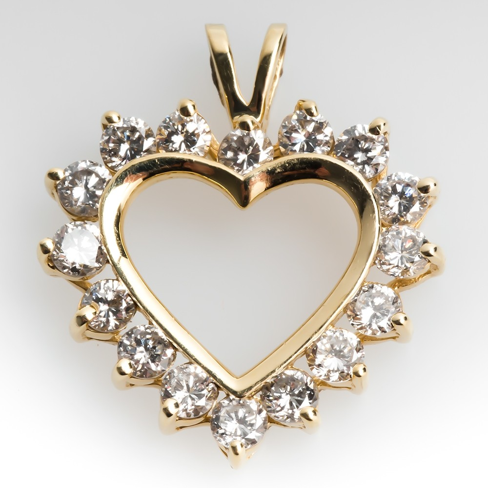 Large 2 Carat Diamond Heart Pendant 14K Gold