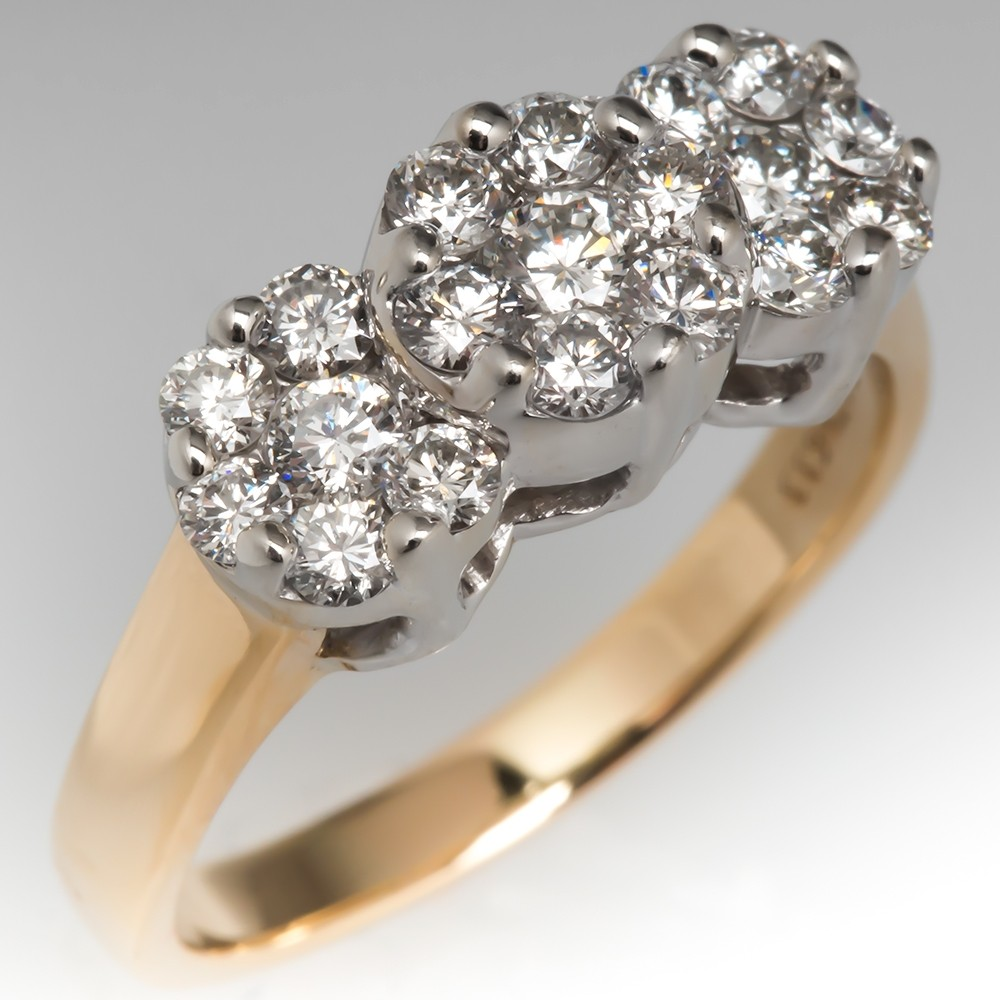 Estate Diamond Cluster Ring 14K Two-Tone Gold