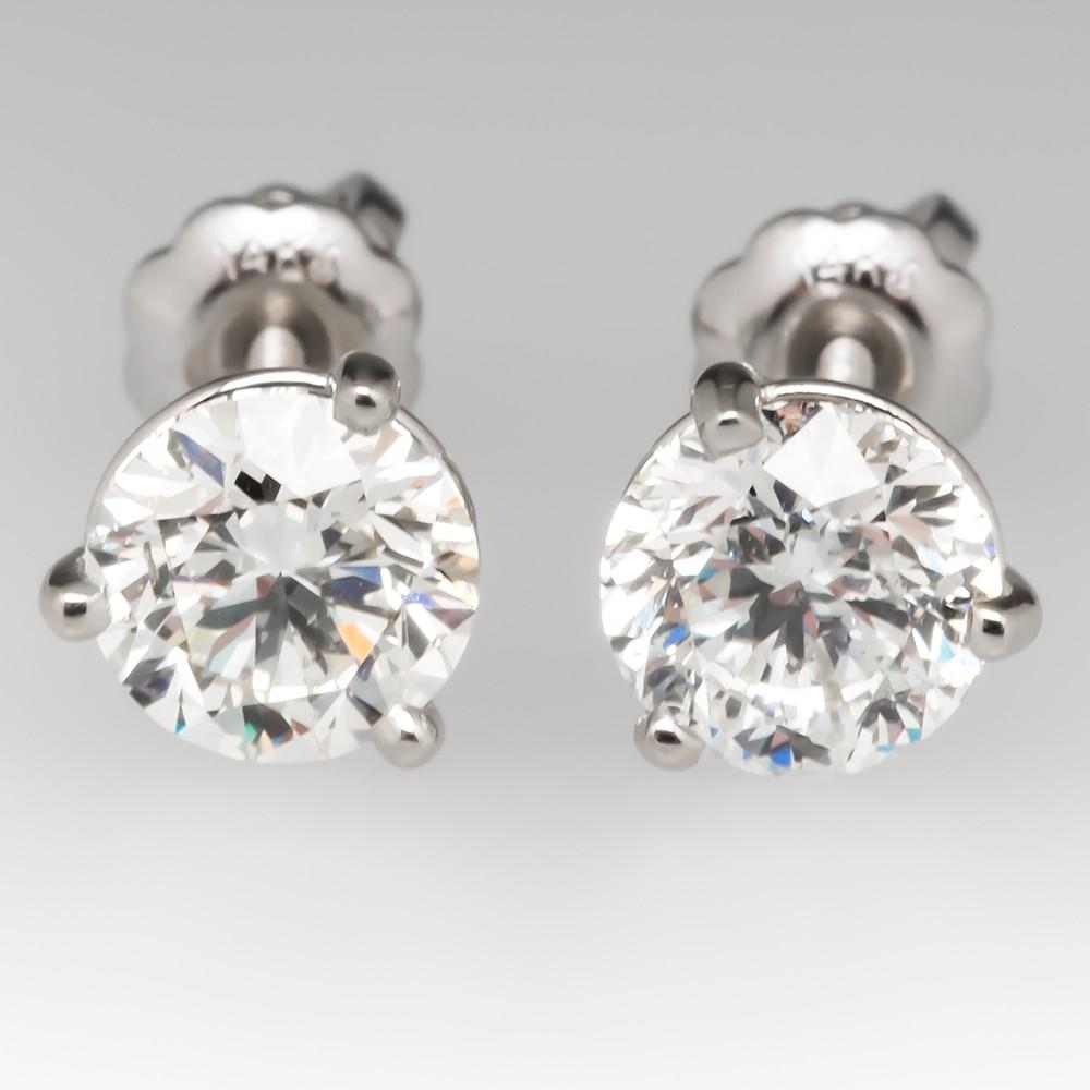1.45CTW Diamond Stud Earrings Martini 3- Prong 14K