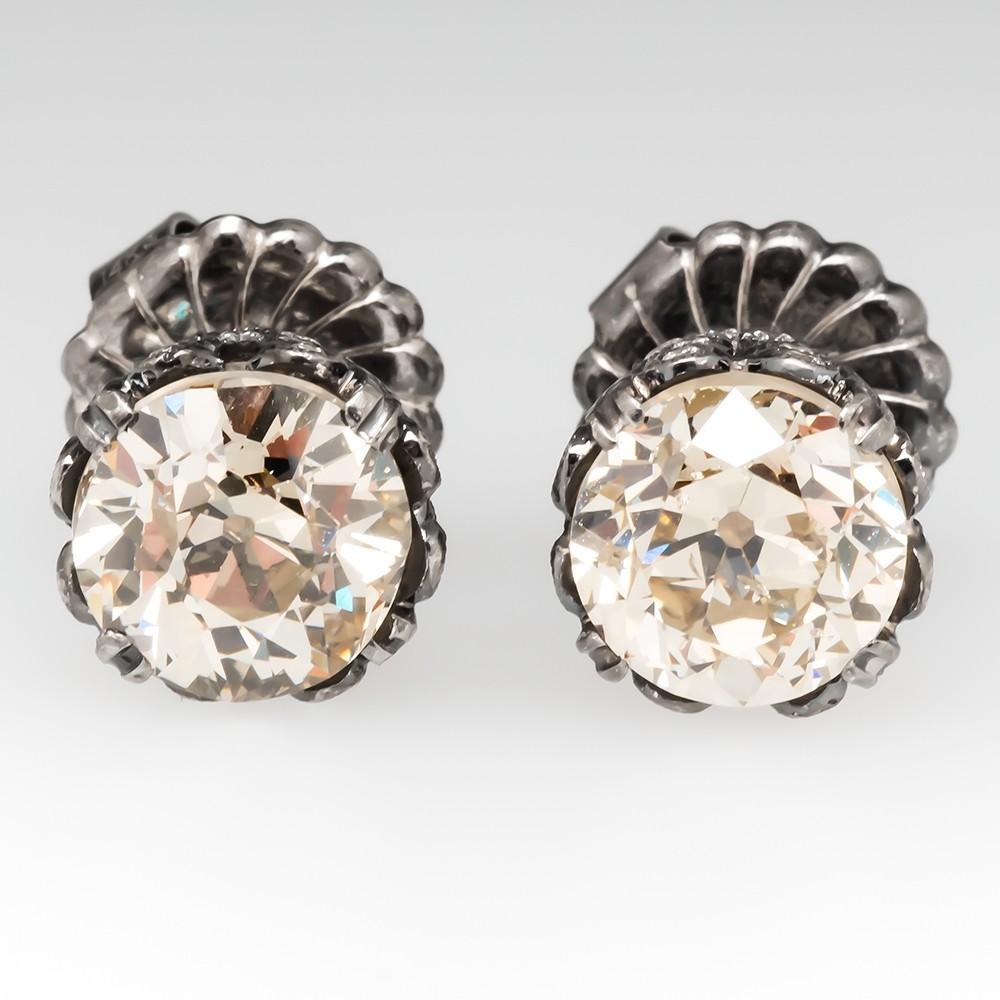 Champagne Old European Cut Diamond Stud Earrings 4.7CTW
