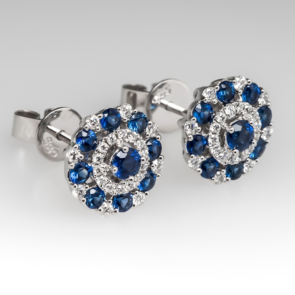 Delicate Blue Sapphire & Diamond Stud Earrings 14K White Gold