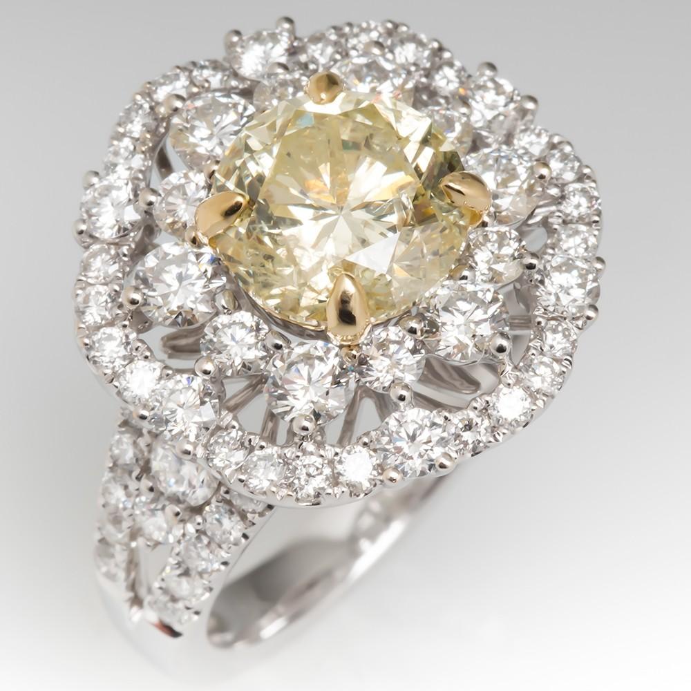 2 Carat Fancy Yellow Diamond Starburst Engagement Ring